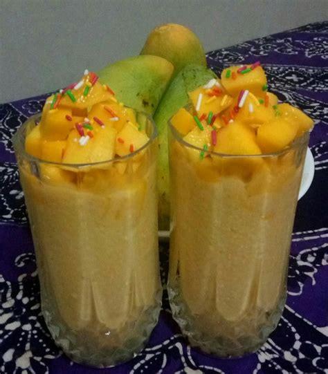 cara membuat jus mangga simple super easy jus mangga susu potong kiub rasa