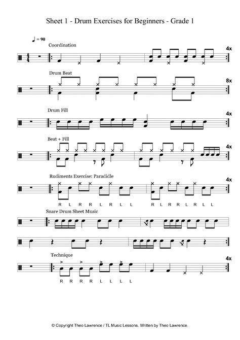 drum tutorial for beginners sheet 1 drum exercises for beginners grade 1
