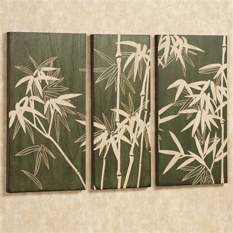 wall decor bamboo grove wooden triptych wall set