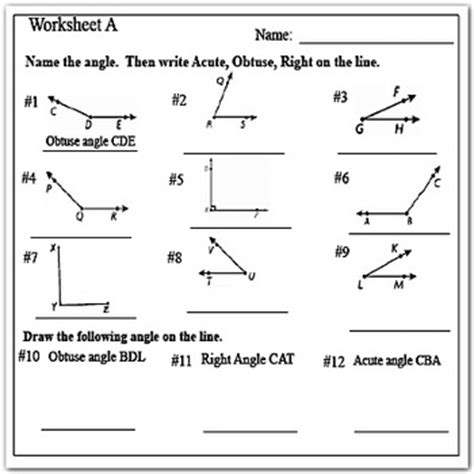 type of angles acute right and obtuse angles worksheets