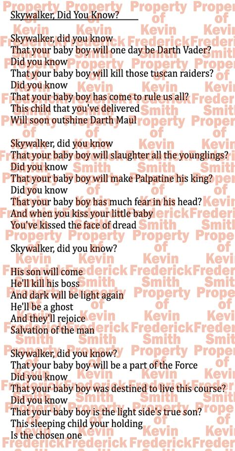 printable lyrics mary did you know skywalker did you know parody of mary did you know