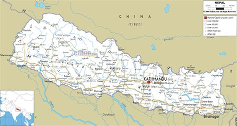 road map directions detailed clear large road map of nepal ezilon maps