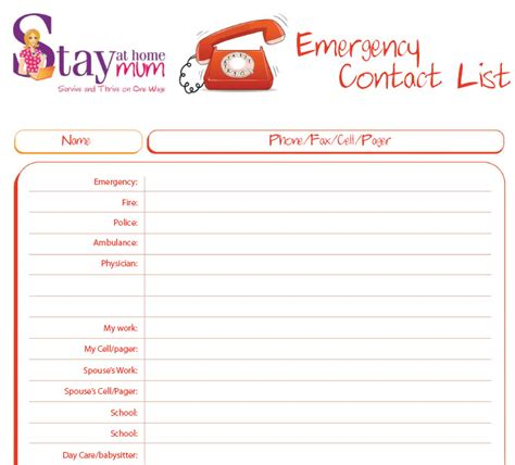 Emergency Contact List Stay At Home Mum Emergency Contact List Template