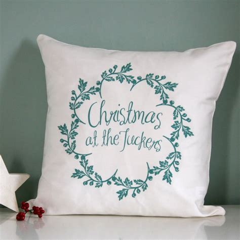 personalised christmas family name cushion by modo