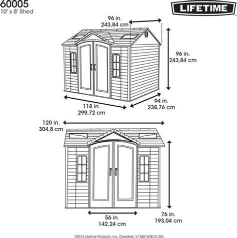 Lifetime Shed Installation by Lifetime 10x8 Plastic Garden Shed With Floor 60005