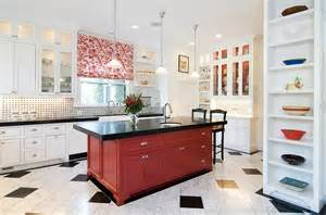 Red Kitchen White Cabinets by Red Black And White Interiors Living Rooms Kitchens