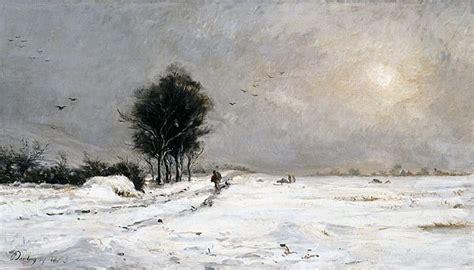charles daubigny  snow scene valmondois neige pres de