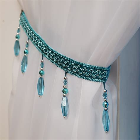 teal curtain tie backs crystal beaded curtain tie back teal