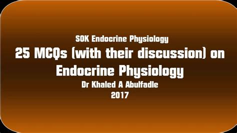 Mcq Endocrine Physiology Ess1002 Human Physiology