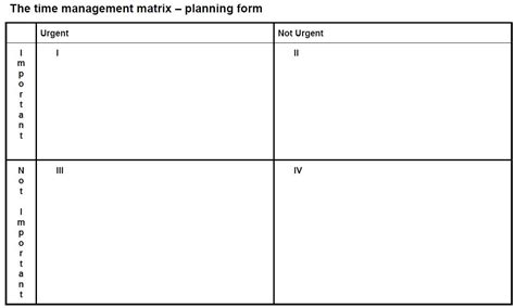 time management quadrant template blank quadrant graph