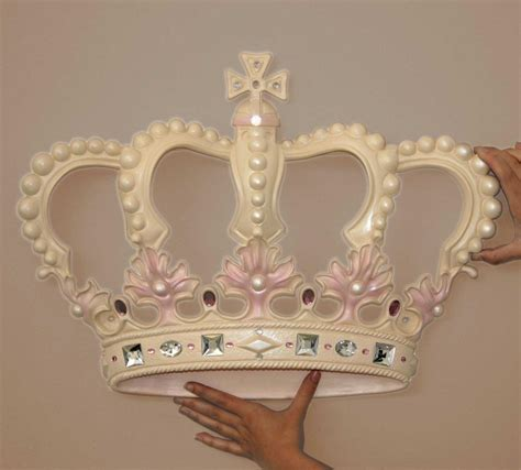 crown decor cream pink princess crown 3d wall art decor by beetling