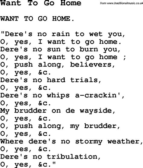 negro spiritual song lyrics for want to go home
