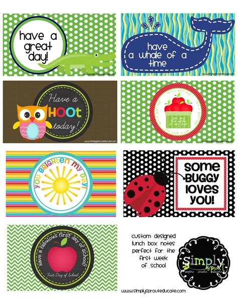 printable lunch box back to school free printable lunch notes