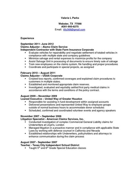 Sle Resume For Entry Level Claims Adjuster Claims Adjuster Resume Sle Http Resumesdesign Claims Adjuster Resume Sle Work