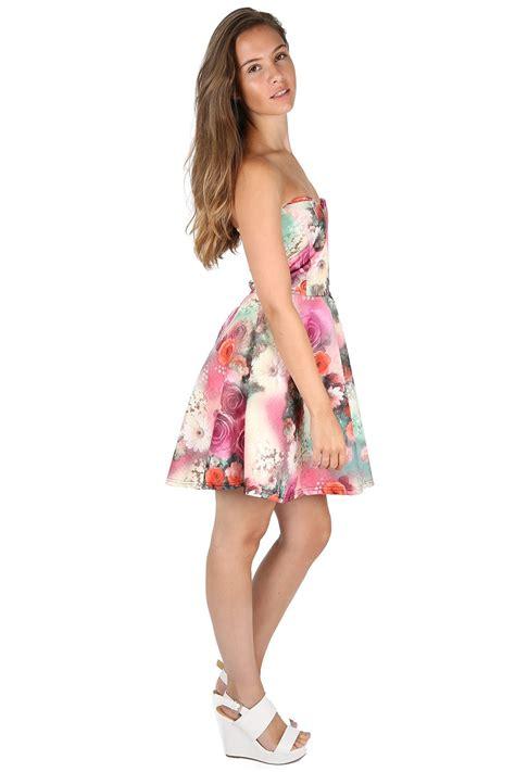 new look 6123 misses dress new womens ladies floral sleeveless padded boobtube mini