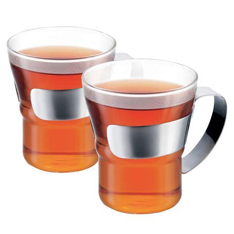 Bodum   Assam Coffee Glass w/ Steel Handle Small Set 2pce   Peter's of Kensington