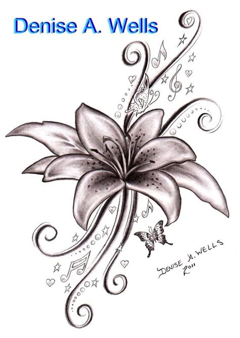 butterfly lily tattoo designs black ink flower with flying butterflies
