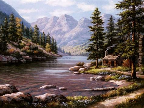 Log Cabin Paintings by Sung Log Cabin Retreat Painting Anysize 50 Log