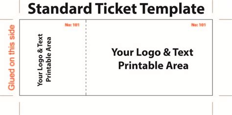 standard admission ticket template with logo and text area