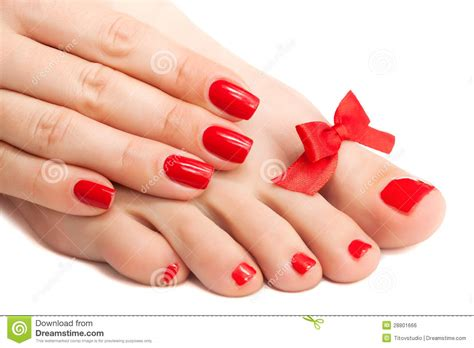 Manicure Pedicure manicure and pedicure with a bow isolated stock photo