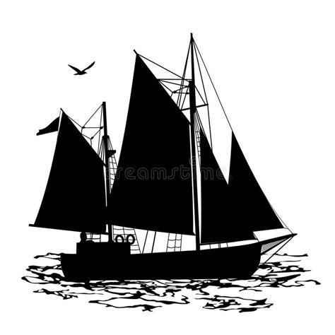dessin bateau silhouette vue de silhouette de bateau 224 voile d un c 244 t 233 illustration