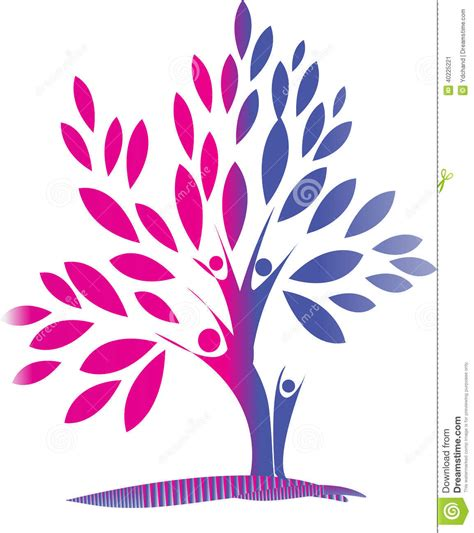 Blue Family by Family Tree Stock Illustration Image 40225221