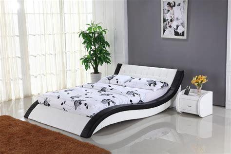 white leather bed  genuine leather king size soft bed modern design bedroom furniture