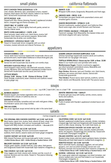 Menu For California Pizza Kitchen 2301 N Federal Hwy California Pizza Kitchen Menu Prices