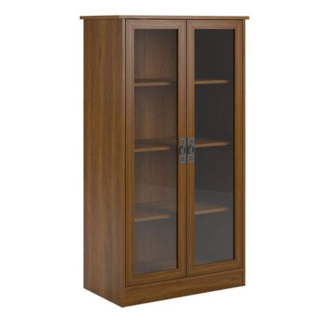 bookcase door home depot ameriwood home lockwood cherry glass door bookcase hd62873