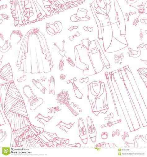 pattern wedding vector wedding fashion bride groom dress seamless pattern stock