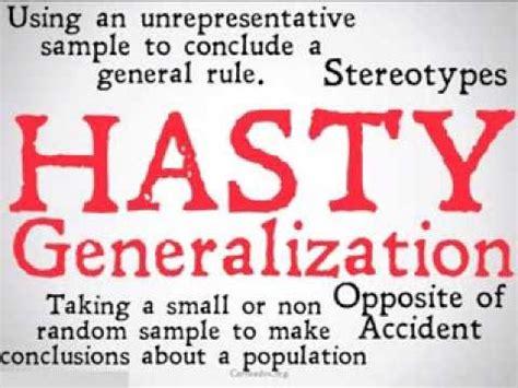 exle of hasty generalization hasty generalization logical fallacy