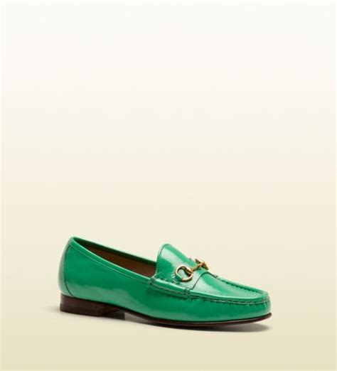 green gucci loafers gucci horsebit loafer in patent leather in green for