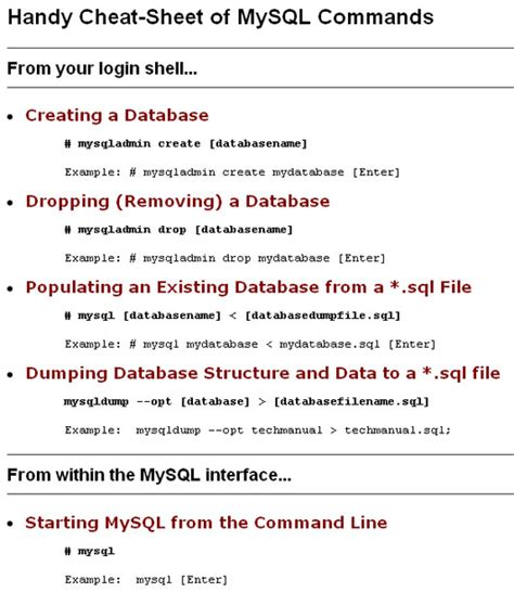 xp mysql command line tutorial cheat sheat of mysql commands w3techie