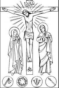 coloriage j 233 sus meurt sur la croix avec marie les