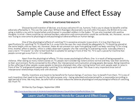 Exle Of Cause Essay by Cause And Effect Essay Tips