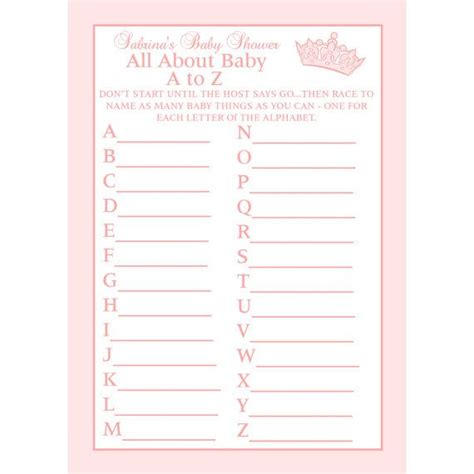 Free Printable Baby Shower A To Z by 24 Personalized Baby Shower A To Z Cards Princess
