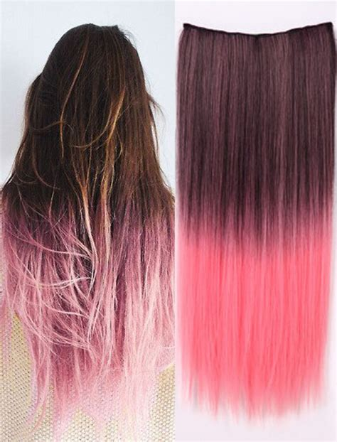 how longs does an ombre color last hot pink clip in one piece ombre color synthetic long