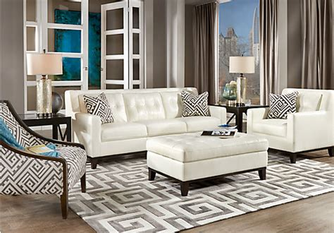 White Leather Living Room Furniture Reina White 4 Pc Leather Living Room Leather Living