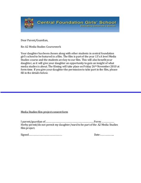 Permission Letter To Principal From Student Sle Letter Students Consent Form