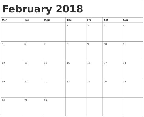 printable monthly calendar starting monday february 2018 calendar template february 2018 calendar