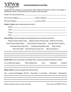 Fillable Funeral Wishes Form Edit Print Download Form Templates In Pdf Word Funeral Wishes Document Template