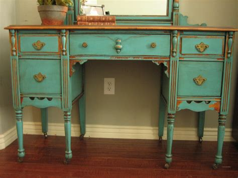 European Paint Finishes Chippy Teal Vanity Painted Desk