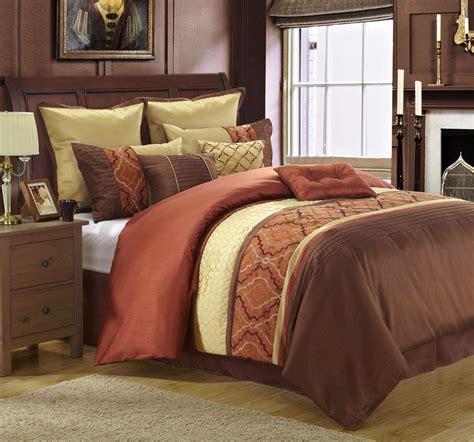 rust bedding comforter sets 9 piece king cambridge rust gold chocolate comforter set