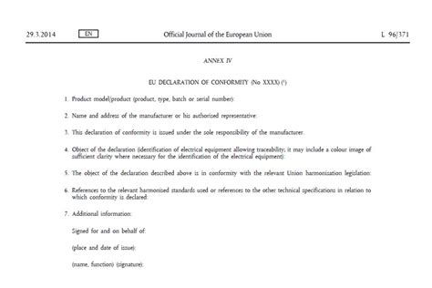 ec declaration of conformity template the eu declaration of conformity f2 tech notes