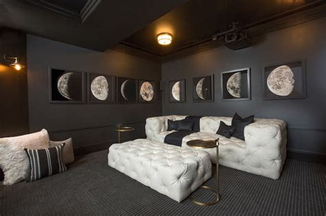 media room wall decor white tufted sofa contemporary media room restoration hardware obsidian rh homes