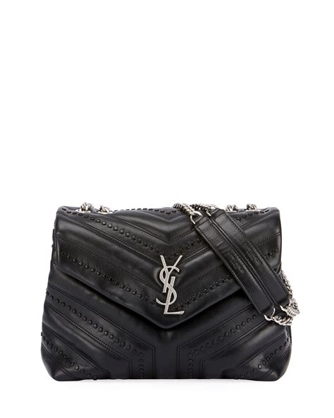 saint laurent loulou monogram ysl small flap black studded