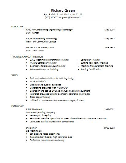 resume format for ac technician career services sle resumes