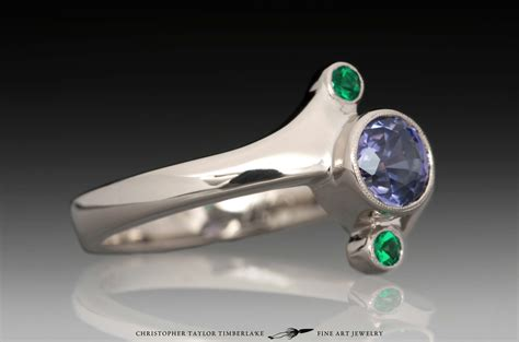 25 05 Ct Sapphire Trapiche Untreated Mogok 14k palladium white gold 3 engagement ring with sapphire and emeralds christopher