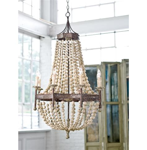 New Wooden Beaded Chandelier Metal Maroma Coastal Scalloped Wood Bead Metal Chandelier Kathy Kuo Home