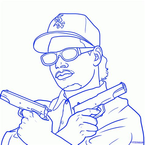 Step 14. How To Draw Eazy E, Eazy E